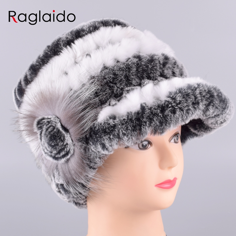 Raglaido Rabbit Fur Cap Hats for Women Winter Floral Real Rex Fur Hat Elastic Beanies Warm Fashion Ladies Snow Hat LQ11205 rabbit fur cap beautiful fashion free shopping real fur women fur hat winter warm