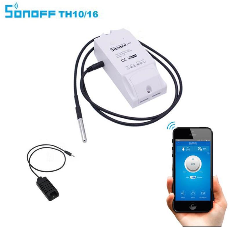 Sonoff TH16/10A, di Temperatura e di Umidità Interruttore di Monitoraggio WiFi Termostato Smart Switch, home Automation Modulo tramite Google Casa