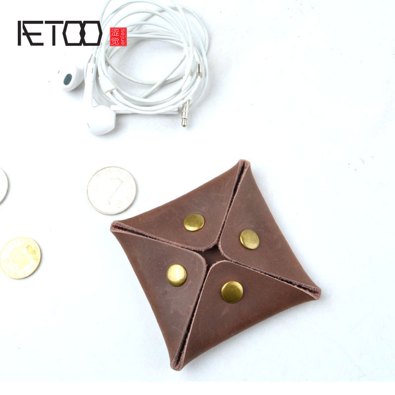 AETOO Crazy horse leather retro coin bag small purse mini wallet leather small earphone storage bag