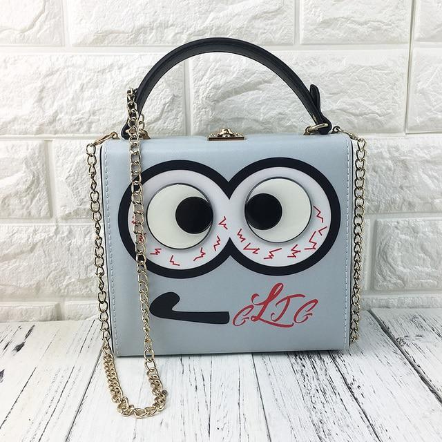 Cute Eyes Character Design Women Box Shape Handbags Cascul Las Shoulder Crossbody Bags Totes
