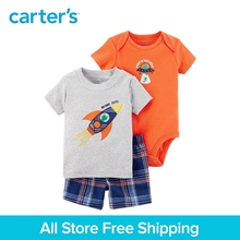 3pcs UFO slogan bodysuit top plaid shorts clothing sets Carter's baby Boy soft cotton Summer 121I398