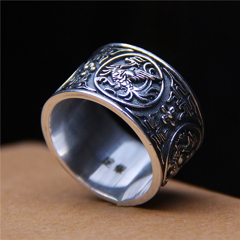 2018 Real Promotion Anel Feminino Of Thai Chinese Antique Dragon Tiger Rosefinch Basaltic Four God Beast Ring For Men And fashion chinese ancient god pattern wacky tie for men