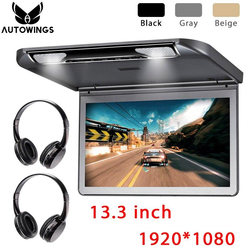 Автомобильный потолочный откидной монитор, 13,3 дюйма, MP5 видео плеер, встроенный динамик, FM, HDMI, SD, все формат, 2 IR наушники, 1920*1080