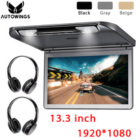 1920*1080 Car Ceiling Overhead Flip Down Monitor 13.3 MP5 Video Player Built in Speaker FM HDMI SD All Format 2 IR Headphones