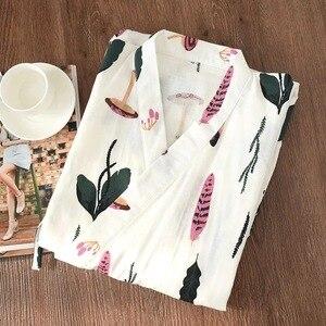 Image 4 - Peignoir dété frais pour femmes, kimono japonais, ensembles de robes simples, pyjama yukata, en gaze, 100%