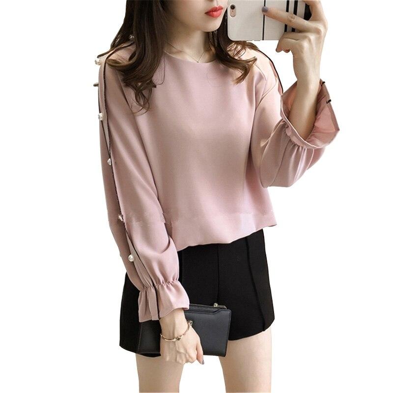 Fashion Beading Chiffon Blouse Elegant Ladies Tops 2017 spring Long Sleeve Shirt Women Pink White Blusas Y Camisas Mujer