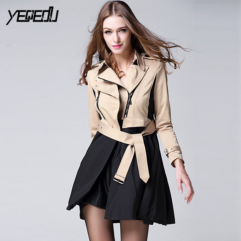 #3306 Spring   Trench   Femme Khaki Slim Zipper Long Runway   Trench   Coat Women Casual Elegant Adjustable Waist Overcoat   Trench   mujer