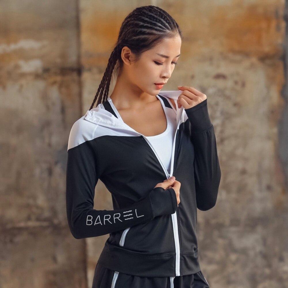 FE531 Hooded Women Running Jacket Thumb Hole Yoga Jacket Zipper Jacket Fitness Clothing Top Sport Gym Sportswear Sweatshirt