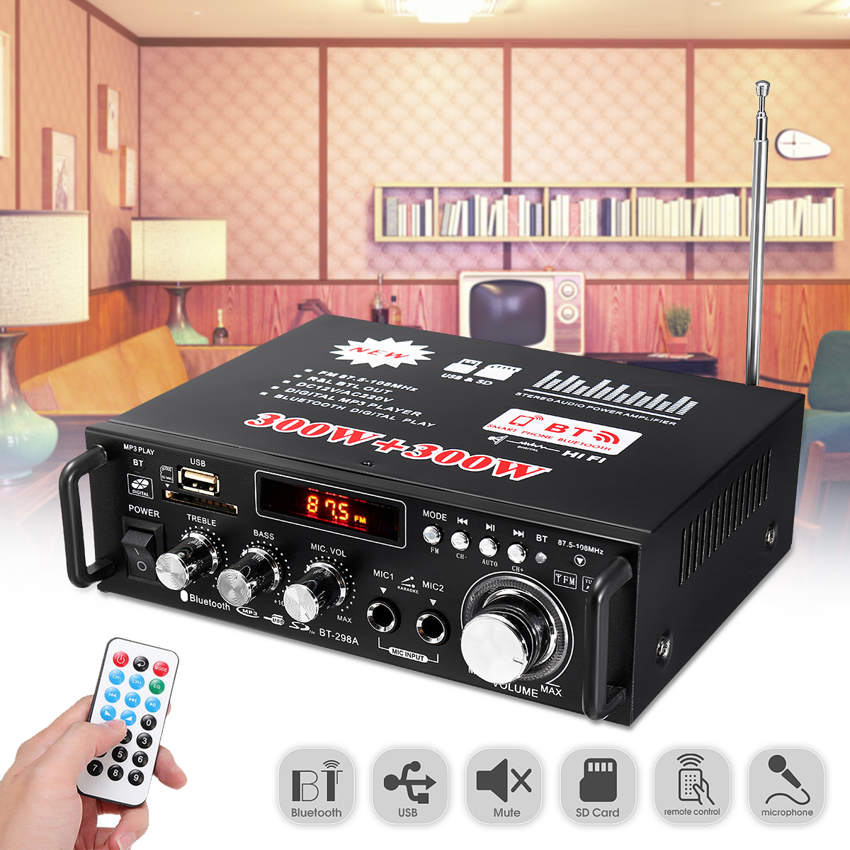 600 Вт 2-канальный Hi-Fi аудио усилитель стерео Bluetooth Мощность усилители 12 В/220 В автомобиля Проекторы для домашнего кинотеатра музыкальный плее...