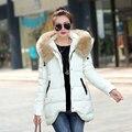 2016 chaqueta de invierno las mujeres espesamiento delgado abrigo chaqueta de algodón acolchado cuello de piel grande medio-largo abrigo de invierno de las mujeres parka