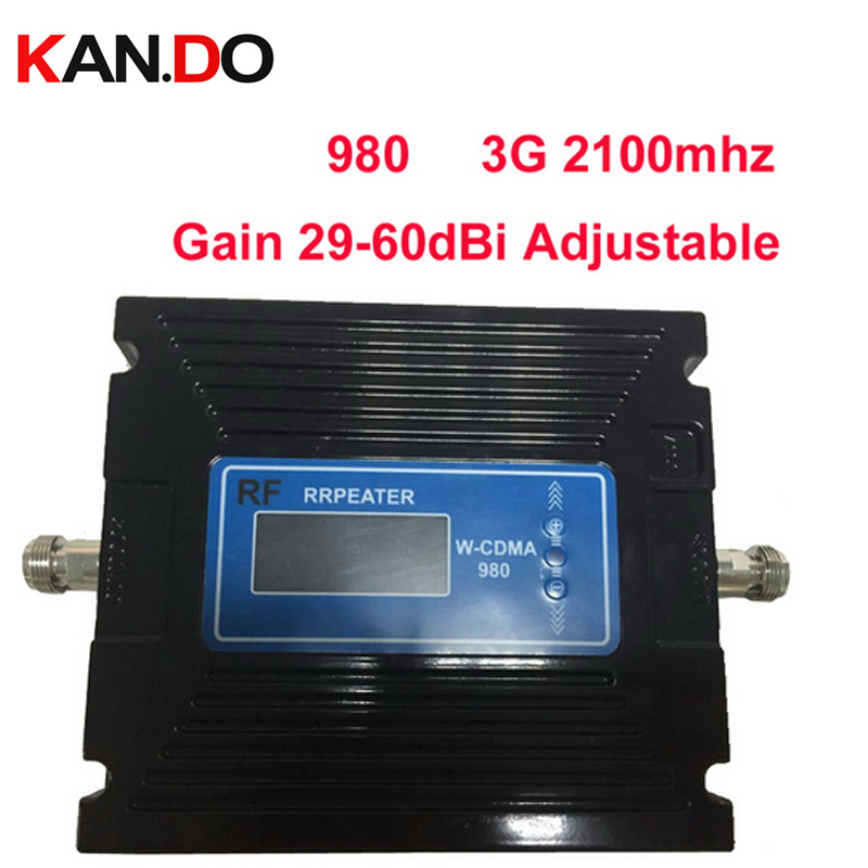 For Russia 29-60dBi Adjustable LCD Display 3G Booster 3G 2100Mhz Booste 3G Repeater 27dbm WCDMA Booster Mobile Phone Repeater
