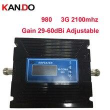Pour la russie 29-60dBi réglable LCD affichage 3G booster 3G 2100 Mhz Booste 3G Répéteur 27dbm WCDMA booster mobile téléphone répéteur