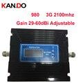 Pour la russie 29-60dBi affichage LCD réglable 3G booster 3G 2100 Mhz Booste 3G répéteur 27dbm WCDMA répéteur de téléphone portable