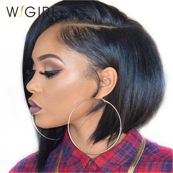 Straight Human Hair Bob Short Human Hair Wigs With Baby Hair Virgin Lace Front Wigs For Black Women 8-12inch