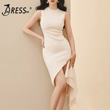 INDRESSME Women Fashion Dress 2019 Summer O Neck Sleeveless White Irregular Ruffles Hem Slim Sexy Elegant Bodycon Party Dresses