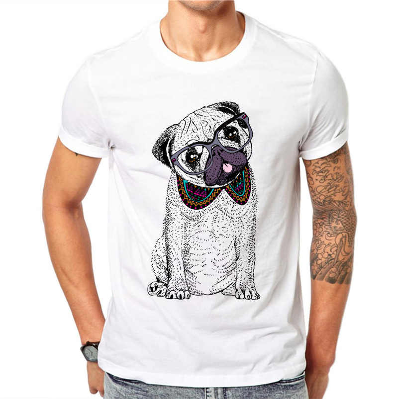 100% Cotton Plus Size Cartoons Dog Men T-shirts Cute Pug Bulldog Dog Glasses Short Sleeve T Shirt Tee White Tops
