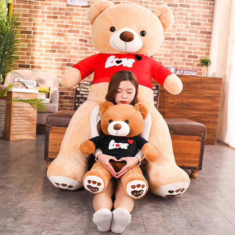 70/90 Cm Big Size Soft Love Wearing Bear Plush Toys Stuffed Plush Animals Soft Bear Toy For Valentine's Day