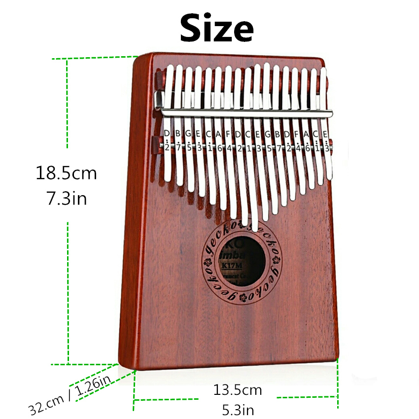 JDR 17 Keys Finger Kalimba Mahogany Thumb Piano EVA High-performance Protective Box Beginners GECKO Keyboard Musical Instrument