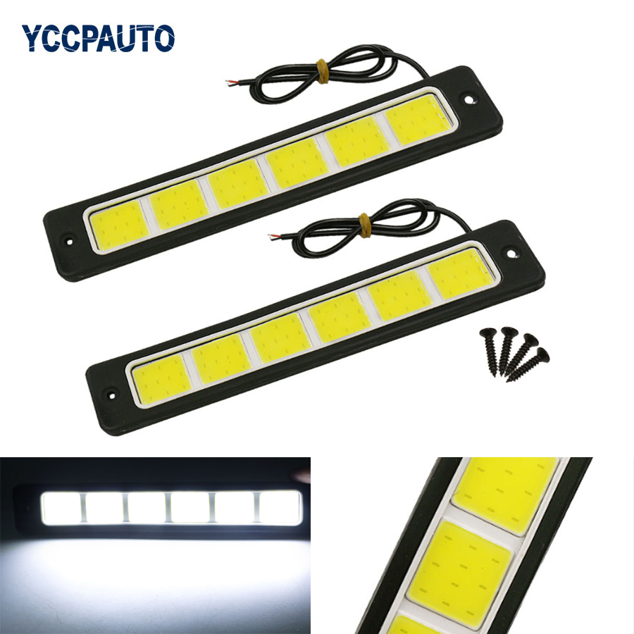 2Pcs Super Bright Flexible Waterproof 6COB LED DRL Daytime Running Lights Driving Fog Light White 190x35mm car-styling DC12V flexible bandable straight line cob drl daytime running lights dc12v 16w high power white e4 waterproof car fog lights