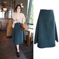 Otoño e invierno las mujeres de lana de Una Línea de faldas de cintura alta falda de largo medio corto falda gruesa maxi lana ocasional jupe MZ1203