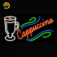 Neon Sign Cappuccino Cup Glass Tube Neon Light Sign For Bar Custom Art Neon Glass Light