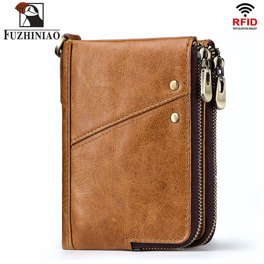 FUZHINIAO Genuine Leather Men Wallet Female and Coin Purse Walet Portomonee Rfid Clamp for Money Male Card Holder Crazy Horse men wallet male cowhide genuine leather purse money clutch card holder coin short crazy horse photo fashion 2017 male wallets