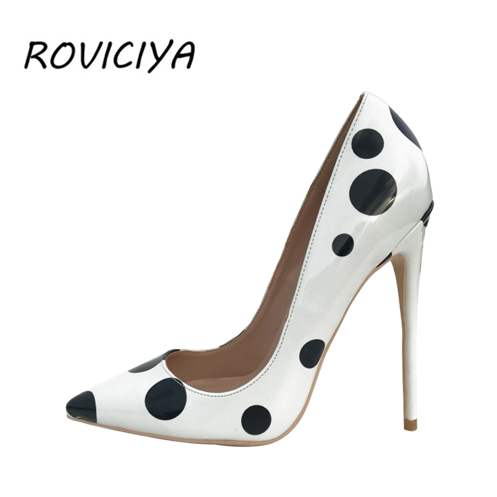 12cm High Heels Shoes Women Pumps Sexy Pointed Toe Wedding Party Shoes Stilettos Black White Dot Panda Plus Size QP045 ROVICIYA12cm High Heels Shoes Women Pumps Sexy Pointed Toe Wedding Party Shoes Stilettos Black White Dot Panda Plus Size QP045 ROVICIYA