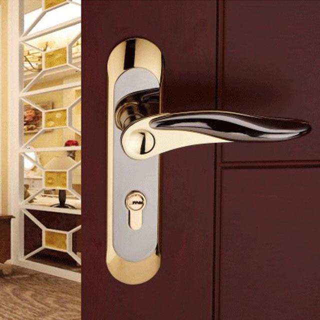 Europea moderna puerta interior puerta de madera puerta de la habitaci n de acero inoxidable de - Cerradura de puerta de madera ...