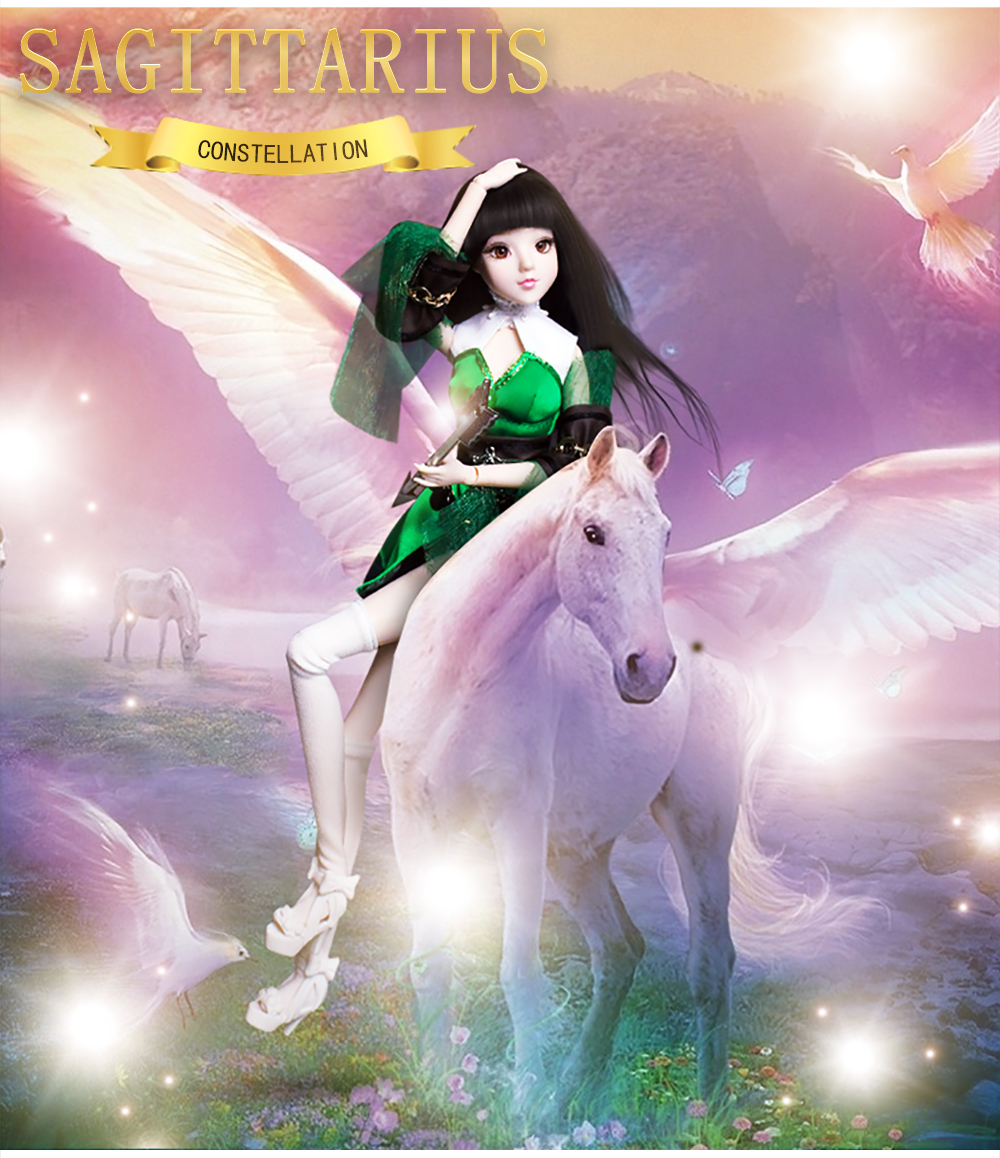 MMG Girl fortune days BJD doll 12 constellations Sagittarius with green outfit shoes stand necklace arrow joint body toy gift 1
