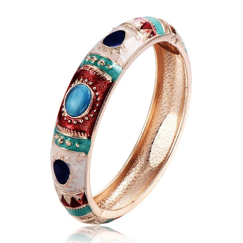 fashion vintage punk bangles bracelets opal for womens