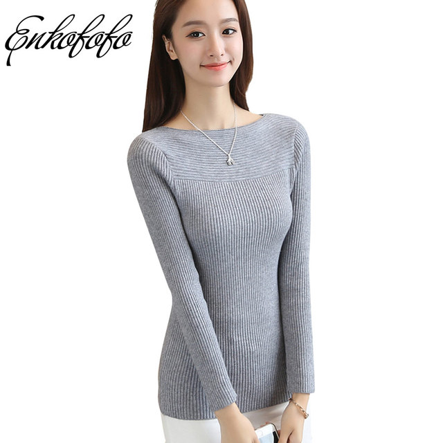 f697b1126ba 2017 New Cashmere Sweater Women Slash Neck Pullover Women s Casual Knitted  Long Sleeve Casual Shirt Sexy Slim Wool Sweaters
