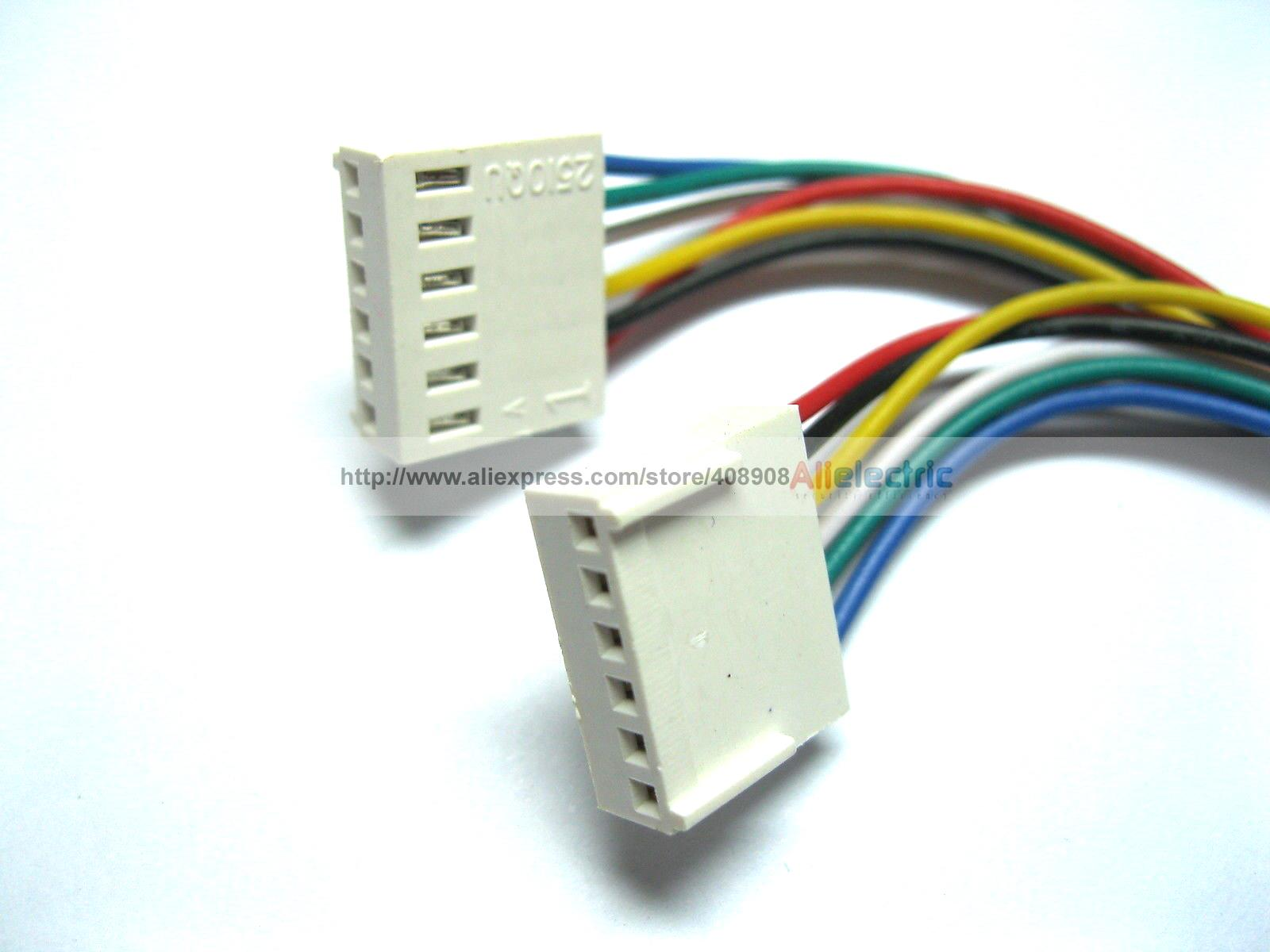 ФОТО 100 Pcs 2510 2.54mm Pitch 6 Pin Female Connector with 26AWG 300mm Leads Cable