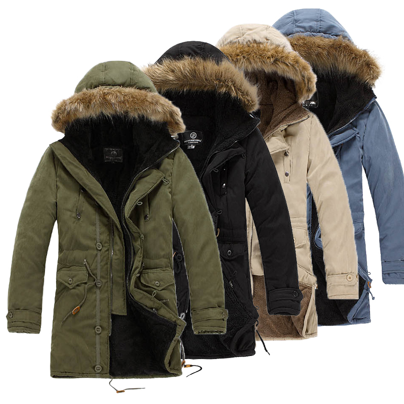 2015 Winter New Arrival 4 Colors Extremely Thick Coat Long Parkas Men Cotton Outwear Parka Male