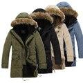 Jaqueta de algodão longo, inverno 4 cores extremamente grosso casaco Parkas homens Outwear Parka masculino marca Fur MT116