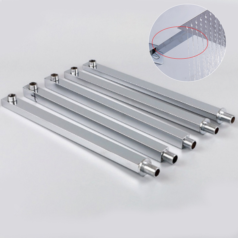 40cm Shower Extension Arm Square Shower Arm 304 Stainless Steel Pipe Surface Wall Mounted Silver Shower Extension Arm Wholesale