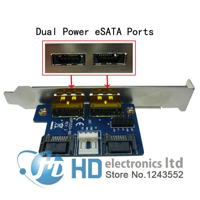 все цены на Dual Power over esata (eSATA + USB) to Dual SATA adapter,2 SATA to 2 power esata card онлайн