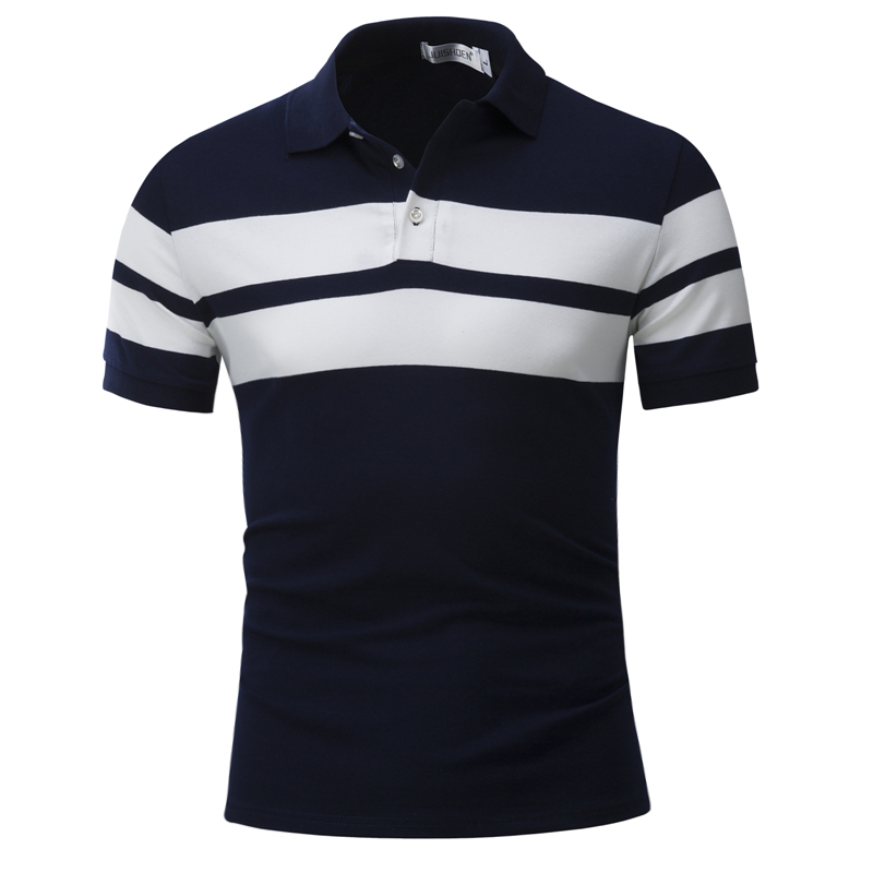 Dropping 2019 New Polo Men Patchwork Turn-down Collar Striped Polos Casual Short Sleeve Male Polo