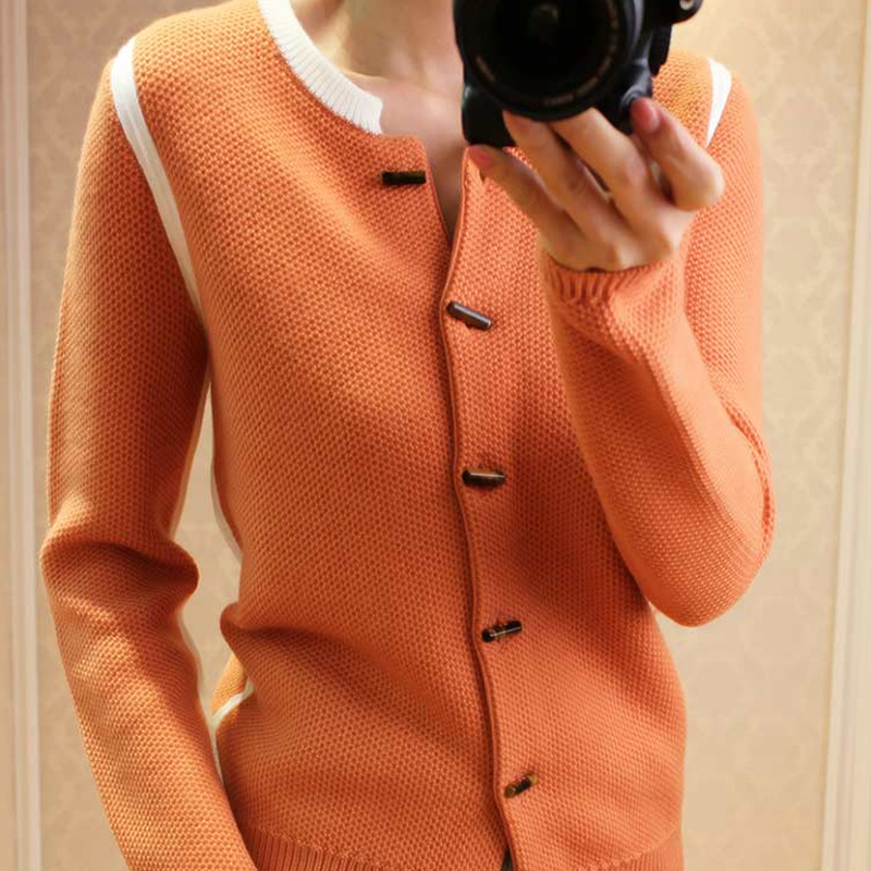 2019 Spring Autumn New Round Pure Cashmere Cardigan Women Short Paragraph Color Fashion Knit Sweater Female Small Coat