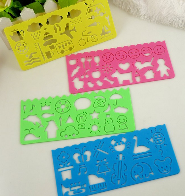 4Pcs/Set  Candy Color Drawing Template Ruler Promotional Gift Stationery Bookmark Kid Toy