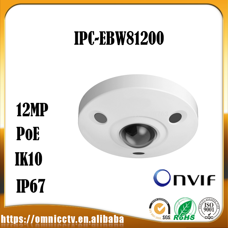 Dahua PoE Free Shipping WDR 360 IP Camera 12MP Ultra HD IR Network Fisheye Camera IP67 IK10 with POE Without Logo IPC-EBW81200