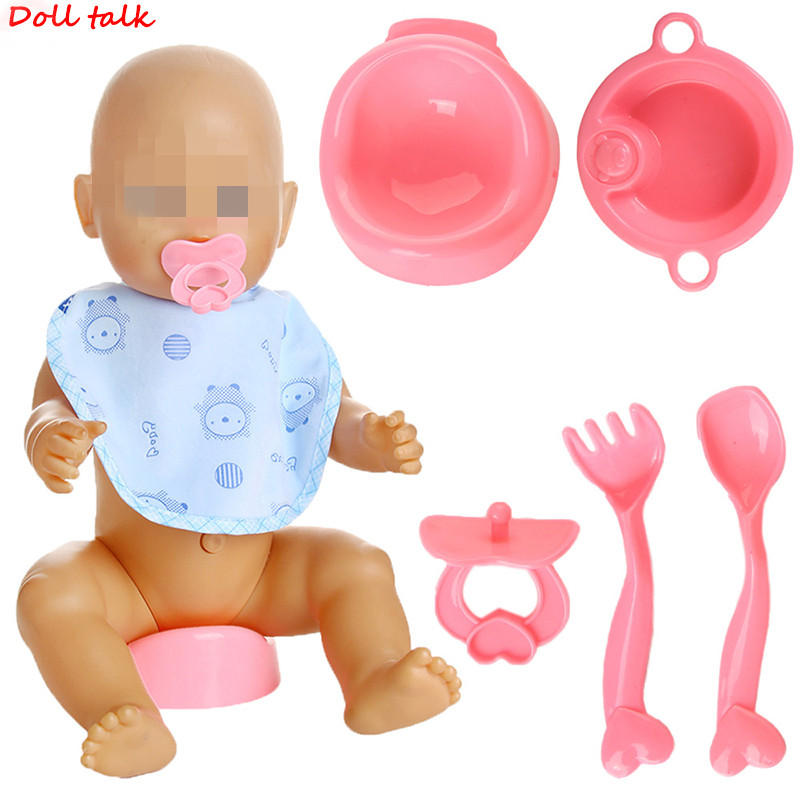 Doll Tableware Milk Bottle+Spoon+Nipple+Dinner Plate Simulated Four Sets For 18 Inch American Doll&43cm Baby Doll Accessories