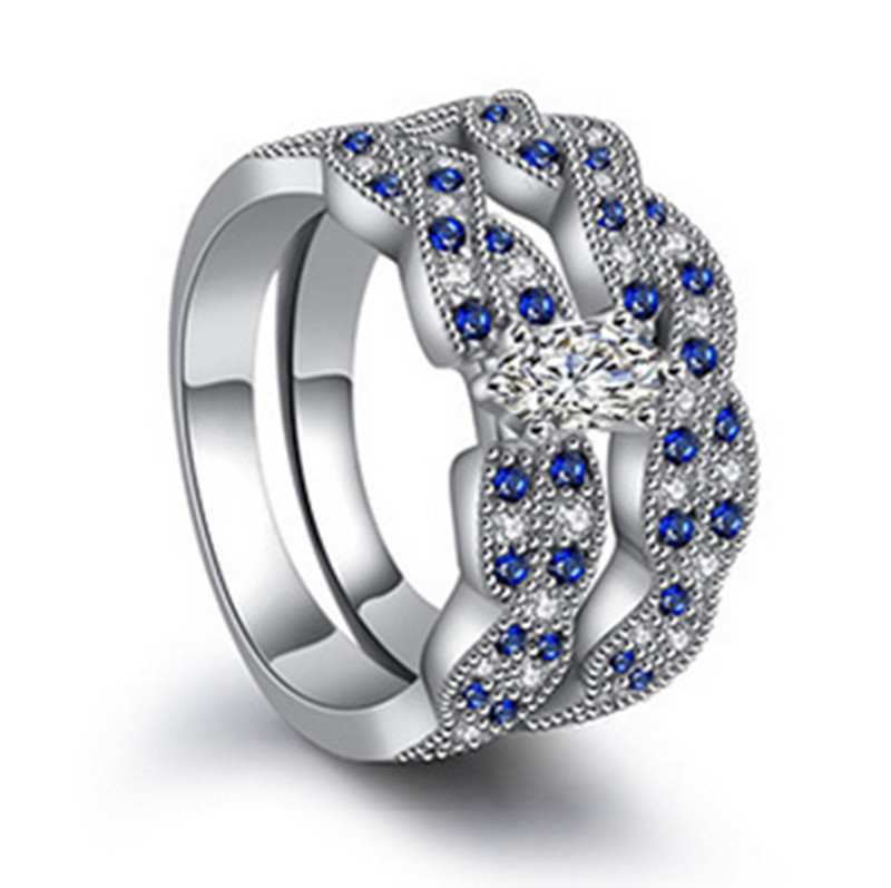 Bow Knot Engagement Wedding Rings For Bridal Charming CZ