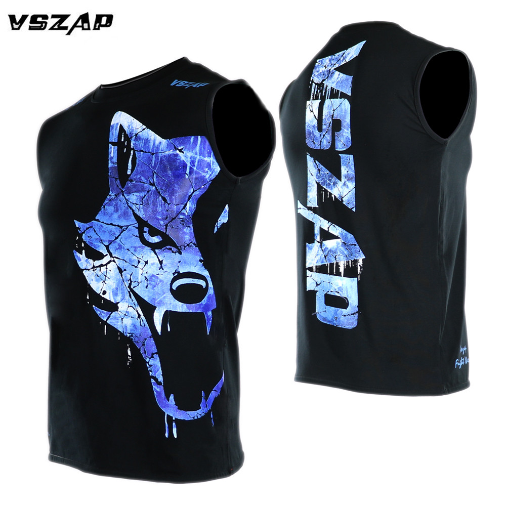 VSZAP ICE And FIRE Boxing MMA T Shirt Gym Tee Shirt Fighting Fighting Martial Arts Fitness Training Muay Thai T Shirt Men Homme