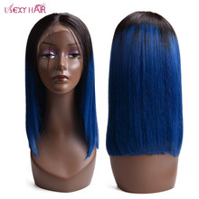 Short Bob Wig Brazilian Straight Remy Hair Lace Front Human Hair Wigs 1B/blue USEXY Lace Frontal Wig For Women(China)