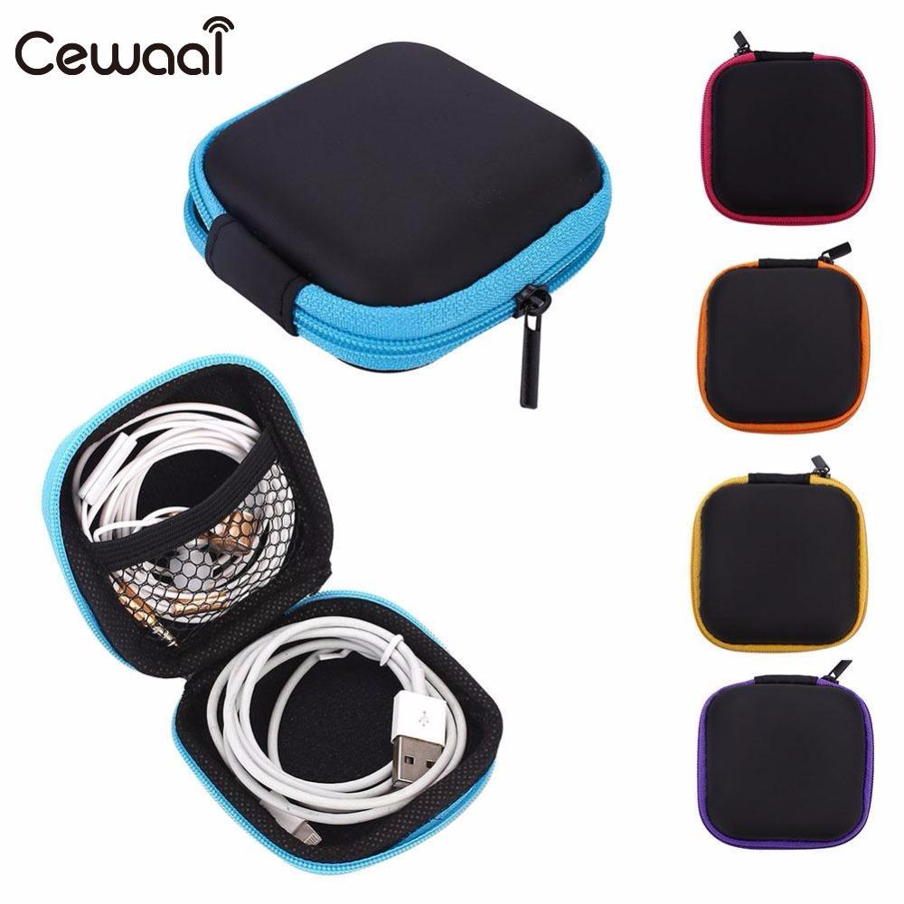 Cewaal Mini Zipper Headphone Protective Cover PU Leather Earphone Bag Organizer Professional headphone Replacement Accessories