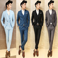 2017 Men Grey Vintage Suits Casual Club Vintage Blue Trendy Suits For Men Blazer Classic Black Mens Suits Married Groom Slim Fit
