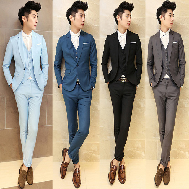 2017 Men Grey Vintage Suits Casual Club Vintage Blue Trendy Suits ...