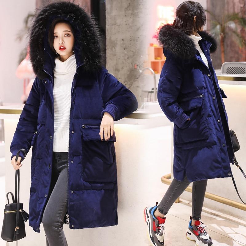 Grand Blue Pour Dark D'hiver Pink Le Veste Femmes Ayunsue Fourrure Chaud Mujer dark Longue 2018 De Manteau Bas Mode Col Vestes Chamarras Kj731 Vers awn1ngvqR