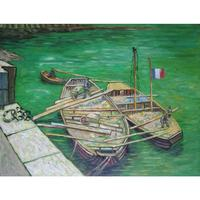 Quay with Men Unloading Sand Barges of Claude Monet art oil paintings Canvas reproduction hand painted