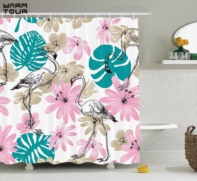 Warm Tour Flamingo And Flowers Exotic Garden Birds Shower Curtain Polyester Fabric Waterproof Mildew Resistant Bathroom